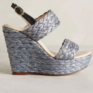 Anthropologie Lien.Do Braided Raffia Wedge Sandal